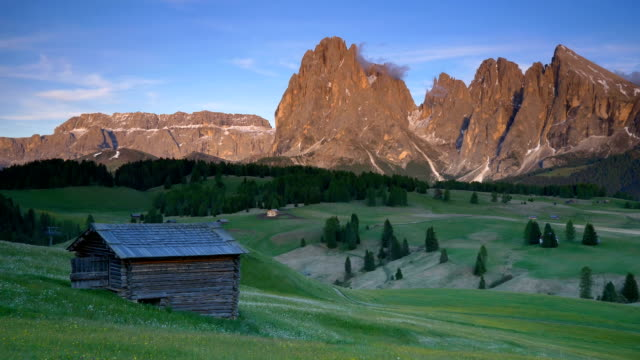 Mountain Langkofel at sunset view from Seiser Alm (panning shot), Dolomites, Italy video