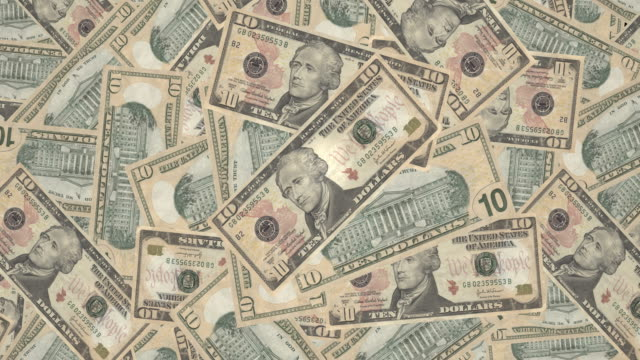 Mountain of banknotes of ten dollars americans, cash money video