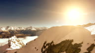 mountain panorama fly over. peak landscape snow winter background video
