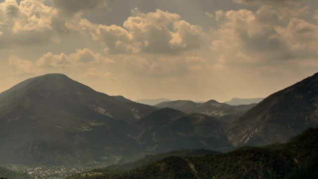 Mountain ridges in Provence Alps sunbeams video