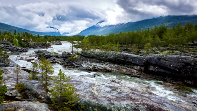 Mountain river in Norway video