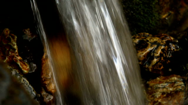 Mountain river waterfall in forest. Media with audio track video
