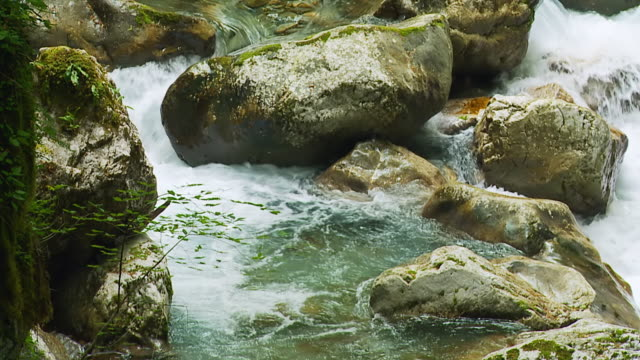 HD SLOW MOTION: Mountain Stream Crashing Against The Rocks video