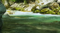 HD SLOW MOTION: Mountain Stream Flowing Through The Rocks video