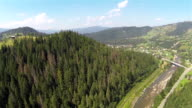 mountain valley from height .Aerial    panorama video