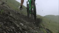 Mountainbiker driving over trail video
