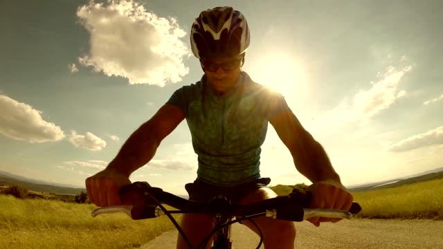 Mountainbiker silhouette - Slow Motion video