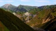 mountains, bridge, Ili River Valley video