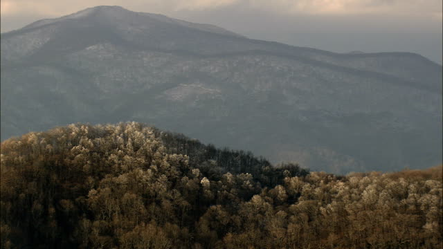 Mountains In Late Afternoon Sun  - Aerial View - North Carolina,  McDowell County,  United States video