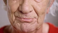 Mouth of a senior Caucasian man talking video