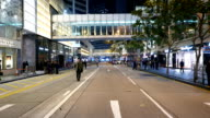 POV move at empty road after protest action, police officers groups video