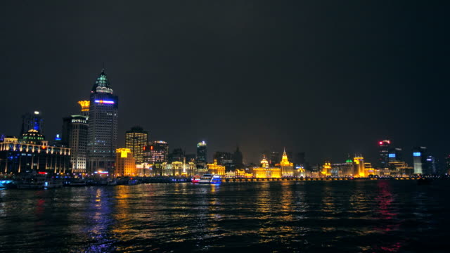 Move shooting view of River Boats on the Huangpu River and as Background the Skyline of the Northern Part of Puxi video