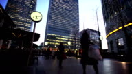 Movement of business people in office building zone, London, England video