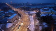 Movement of cars on the night street in Warsaw in the winter, the top view video