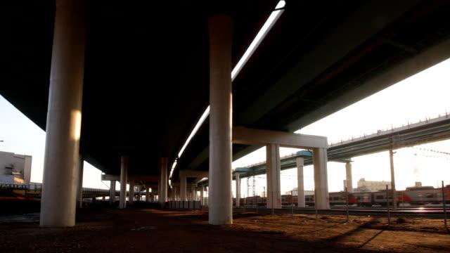 Movement under modern overpasses video