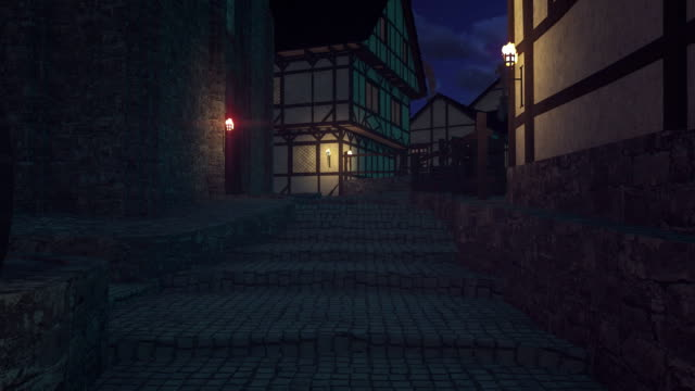Movement up stairs on the old cobblestone paved alley video