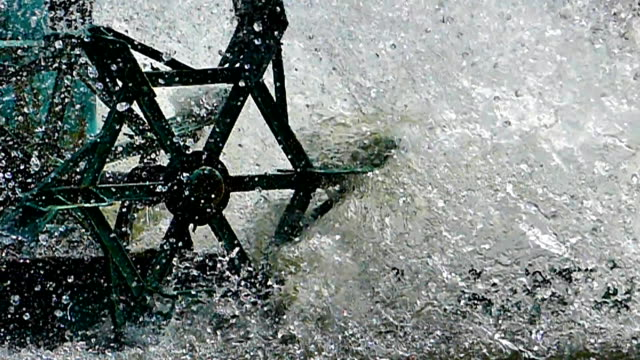 Movement water of water turbines. video