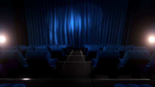 Movie theater with luma/alpha matte (long tracking shot, blue) video