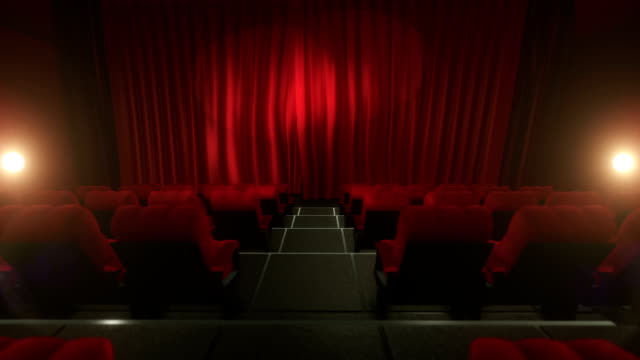 Movie theater with luma/alpha matte (short tracking shot, red) video