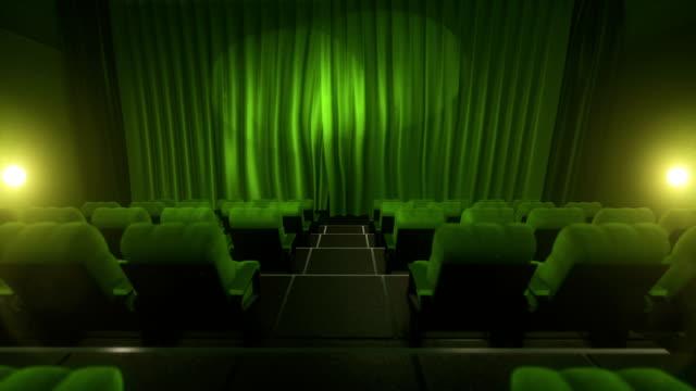 Movie theater with luma/alpha matte (short tracking shot, green) video