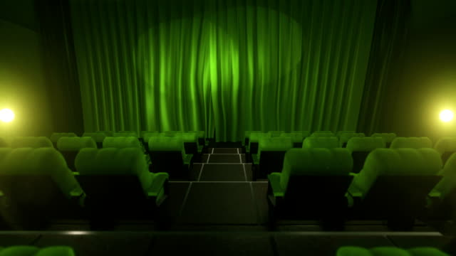 Movie theater with luma/alpha matte (long tracking shot, green) video