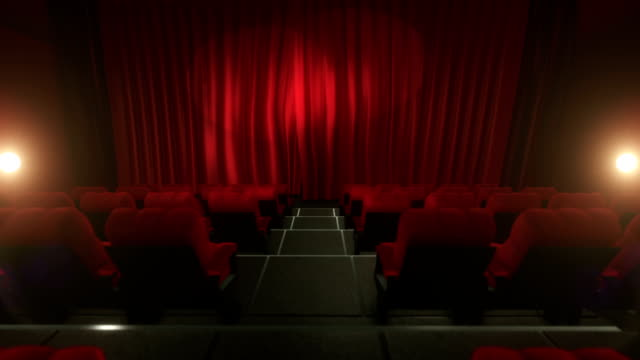 Movie theater with luma/alpha matte (long tracking shot, red) video