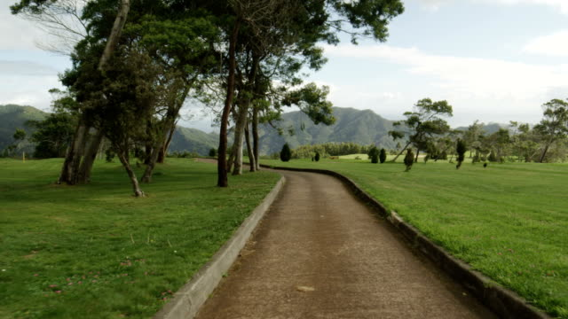 Moving Along the Golf Course. Aerial Shot from Madeira. video