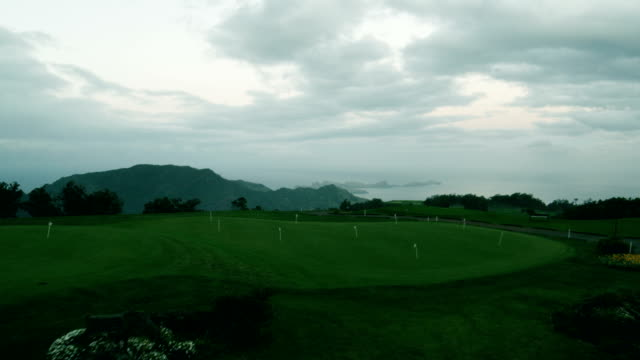 Moving Along the Golf Course in the Evening. Aerial Shot from Madeira. Magic Hour. video