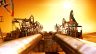 Moving at the Endless Pipeline and rows of Oil Pumps. Orange Sunset and Sun Shining in the Desert. Looped 3d animation. HD 1080. Technology and Transportation Business Concept. video