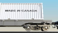 Moving cargo train and containers with MADE IN CANADA caption. Railway transportation. Seamless loop FullHD clip video