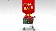 Moving cart,dropping gift box, shopping bag, typo 'FINAL SALE' video