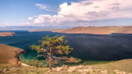 Moving clouds above a lake Baikal video