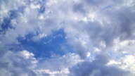 Moving clouds in the blue sky, time lapse video