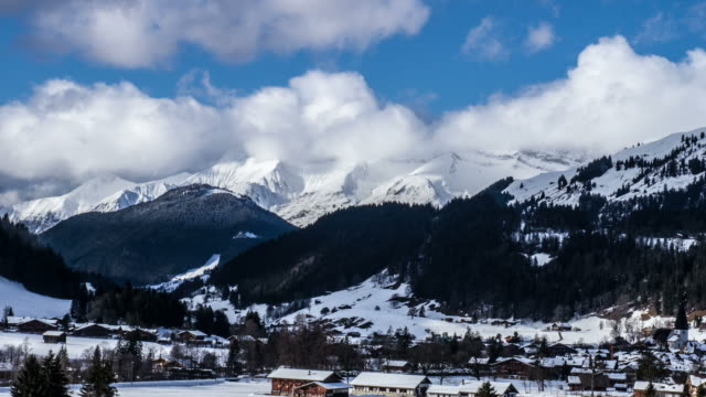 Moving Clouds Over Swiss Alps Time Lapse video
