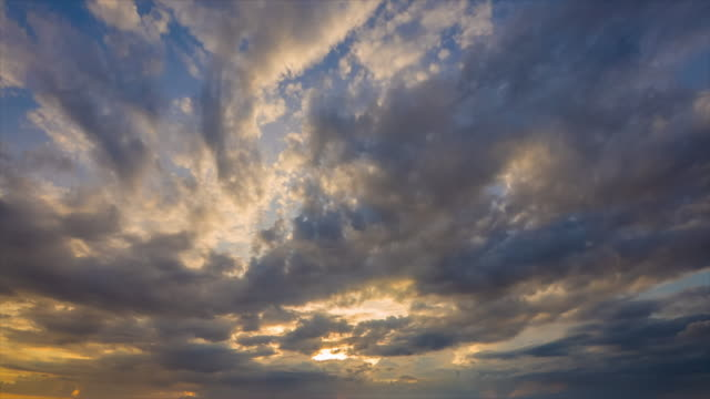 Moving cloudscape at Sunset, Time lapse video