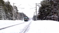 Moving freight train in winter Russian forest video