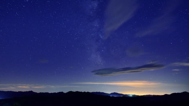 Moving Galaxy in the blue sky, from day to night, Timelapse video