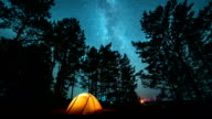 Moving milky way above tent at night time lapse video