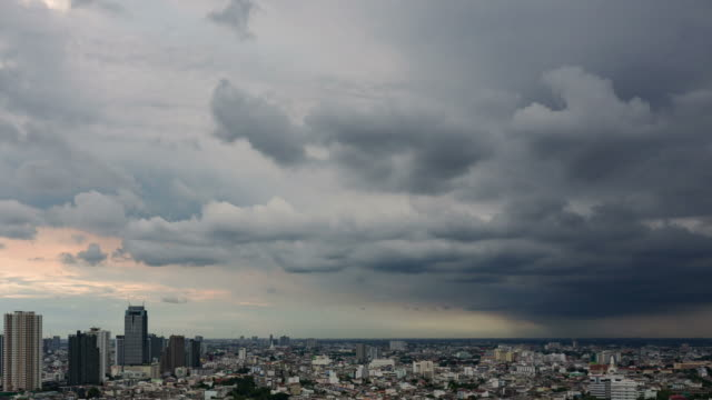 moving of clouds over city landscape video