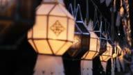 Moving of Lanna Thai Lantern in the evening video