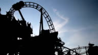 Moving Roller Coaster Ride view dark afternoon video