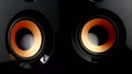 Moving sub-woofer. Speaker cone pumping. Closeup video