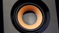 Moving sub-woofer. Speaker part. Closeup video