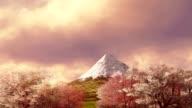 Mt Fuji and blooming sakura at sunrise or sunset video