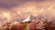 Mt Fuji and cherry blossom at sunset or sunrise video