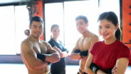 Muay Thai workout - Training at the gym facility - Portraits video