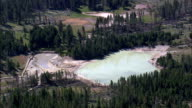 Mud Volcano And Black Dragons Caldron  - Aerial View - Wyoming,  Park County,  helicopter filming,  aerial video,  cineflex,  establishing shot,  United States video