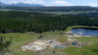 Mud Volcano And Black Dragon's Caldron  - Aerial View - Wyoming,  Park County,  helicopter filming,  aerial video,  cineflex,  establishing shot,  United States video