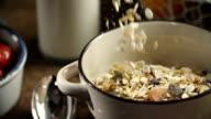 Muesli Cereals Falling into Bowl video