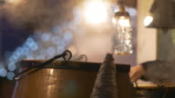 Mulled wine in deep pot at Christmas market video